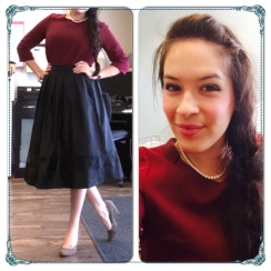 maroon and black skirt